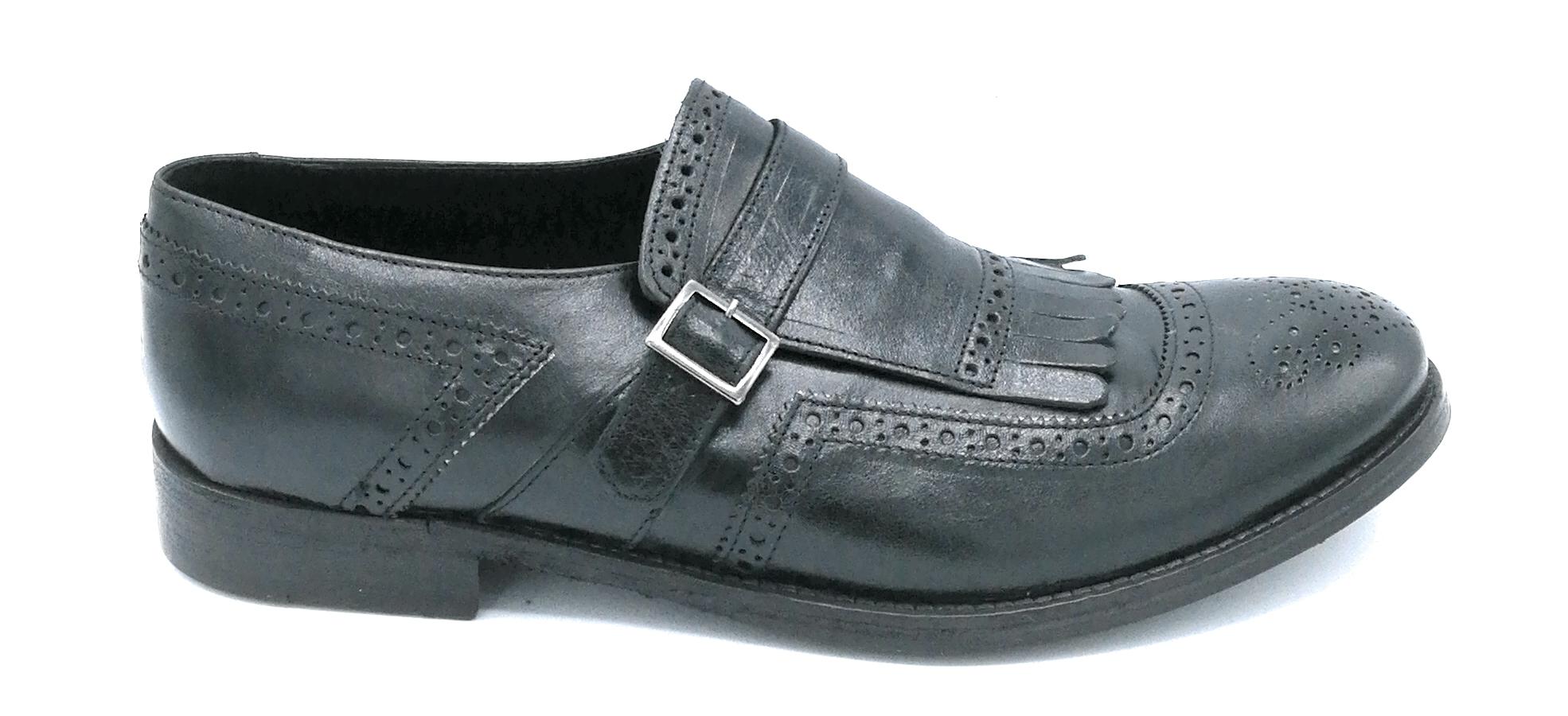 super popular de782 90525 Eveet 15503 scarpa uomo pelle nera ricamata con frangia e fibbia