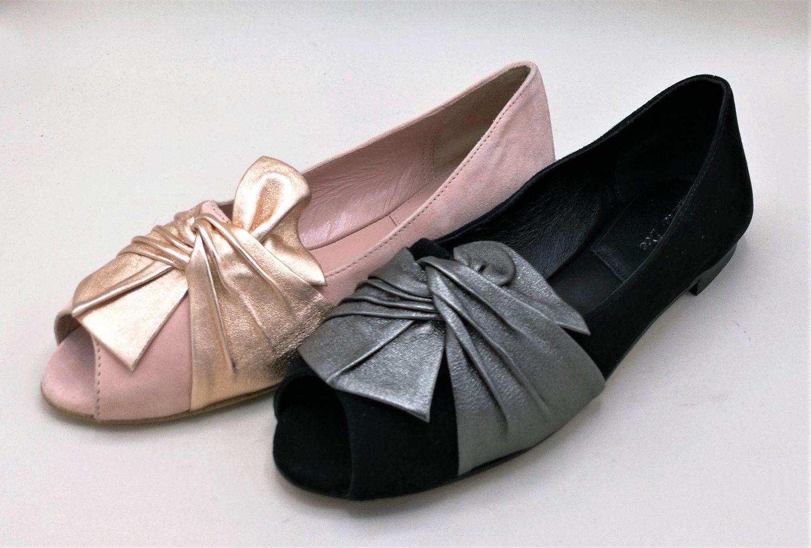 Julie Dee J4334 J4334 J4334 ballerina aperta punta in camoscio fiocco rosa rame   381482