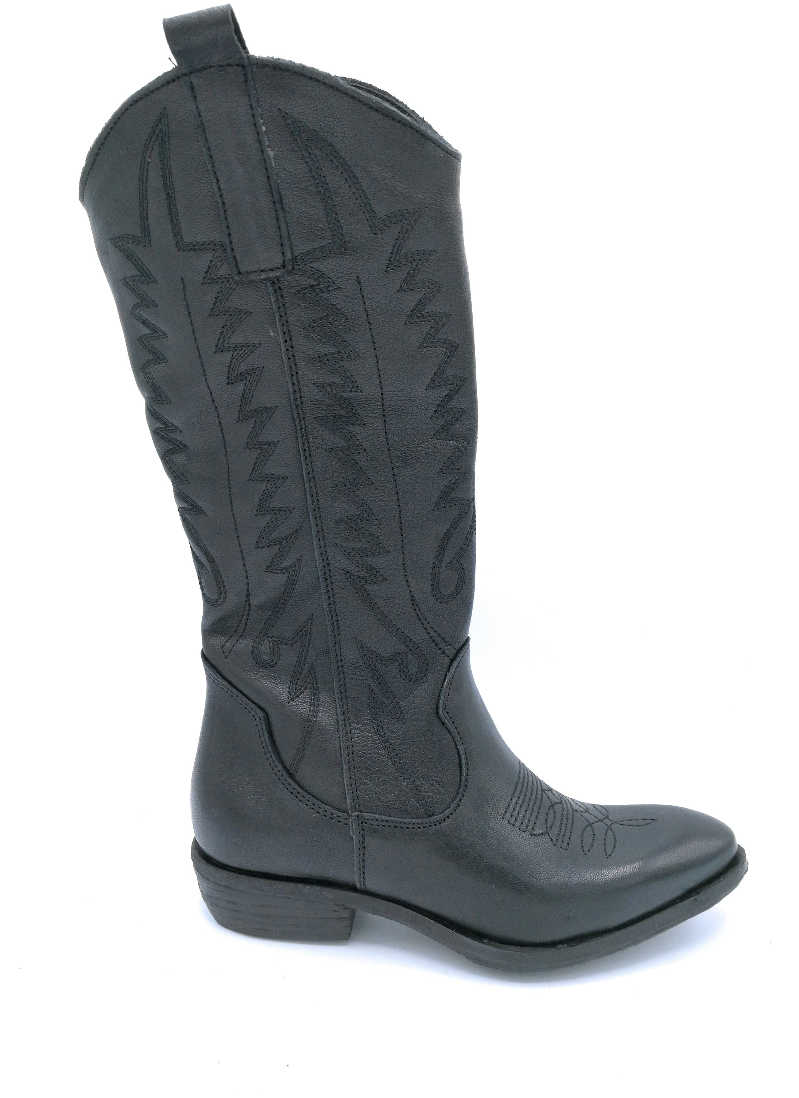 Ovye MS75 Kruste Stiefel Texanisch Kruste MS75 schwarz mit Stickerei b27f1c