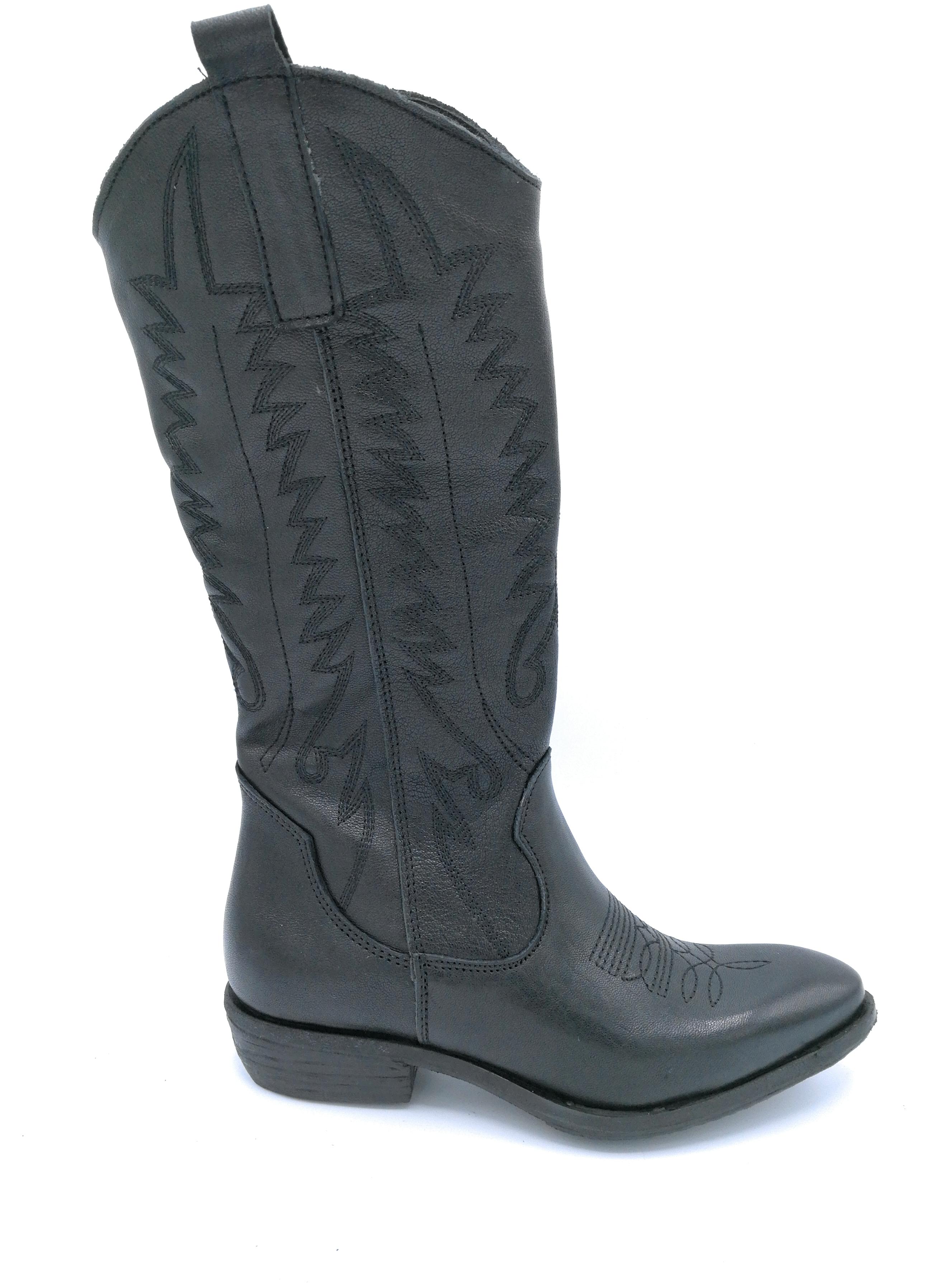 Ovye MS 77R Stiefel schwarzes schwarzes schwarzes Leder Stickerei und Reißverschluss 0aed87