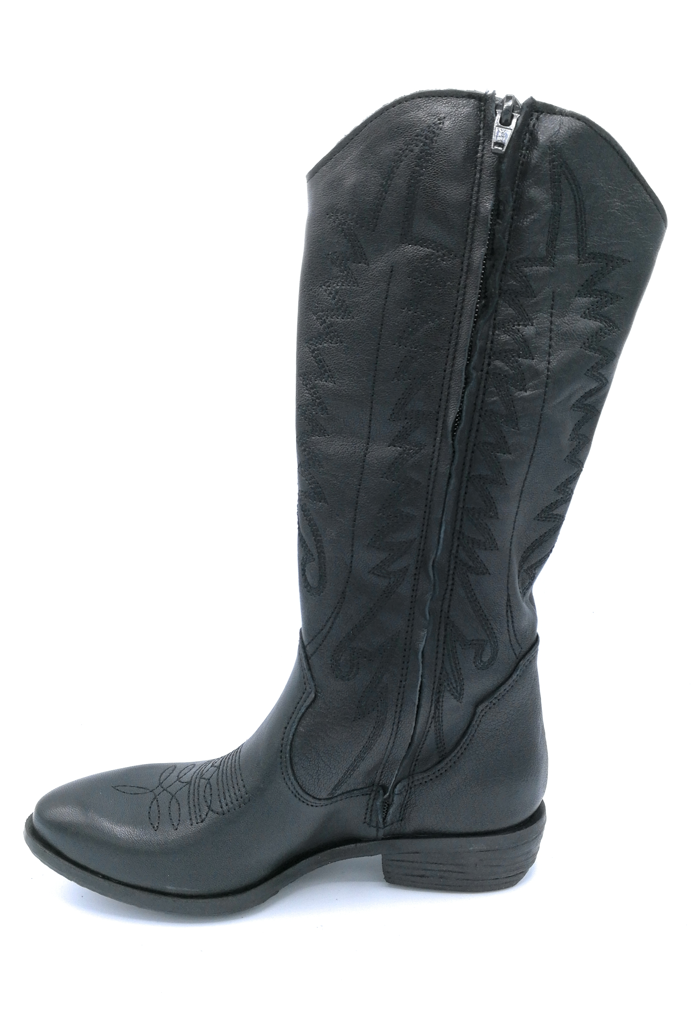 Ovye MS 77R Stiefel schwarzes schwarzes schwarzes Leder Stickerei und Reißverschluss 8ae0cb
