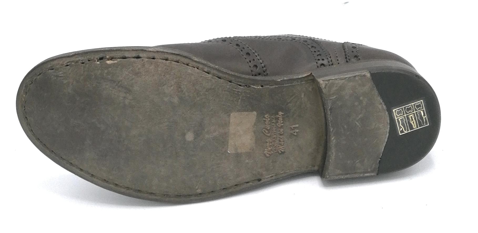 Eveet 15312 scarpa francesina all inglese pelle testa di moro ricamo fondo  cuoio eb757314864