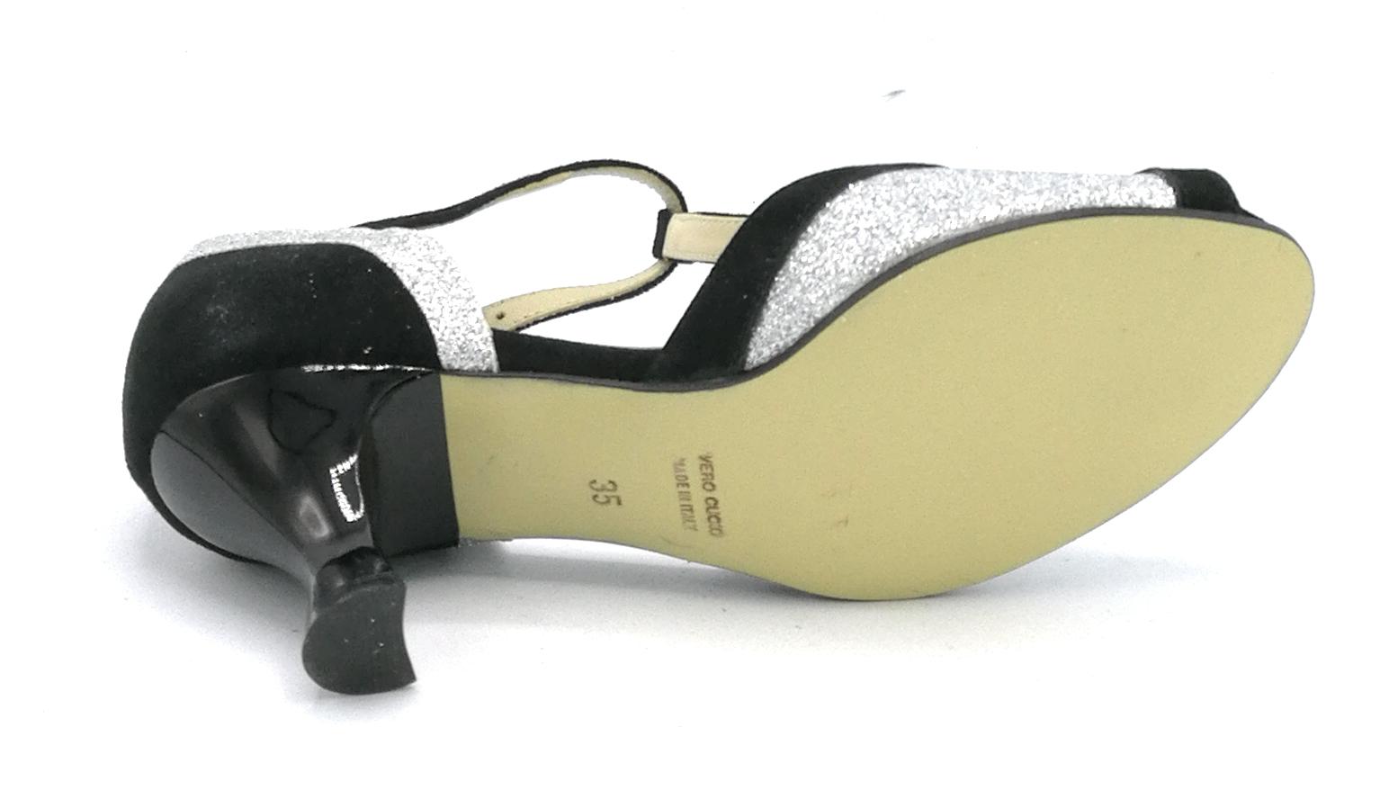 S2020 Shoebiz Scarpe Da Glitter Ballo Argento Nero Camoscio uFcTK3Jl1