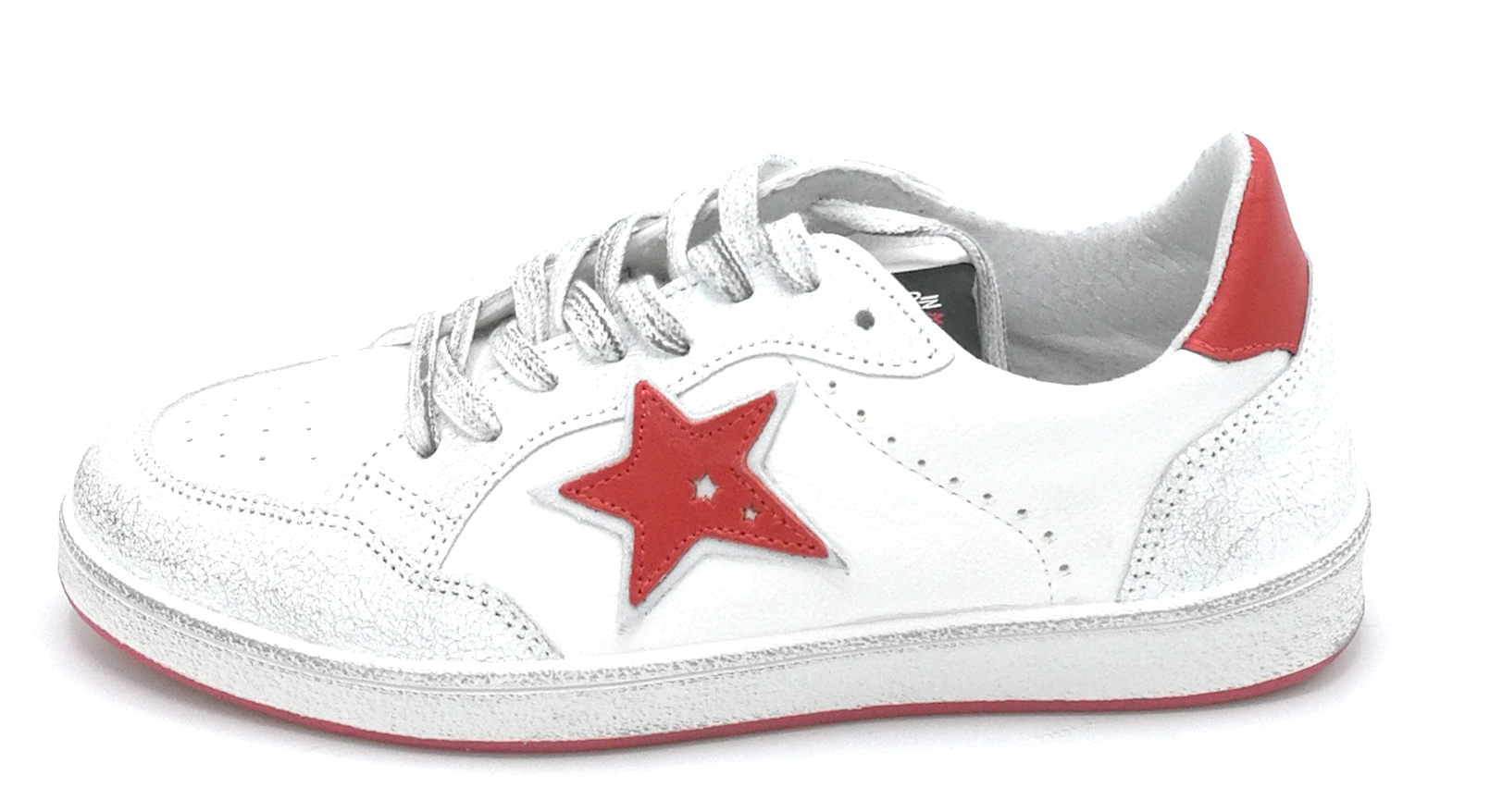 In my Shoes G20.02 sneaker lacci pelle bianco-rosso stella W