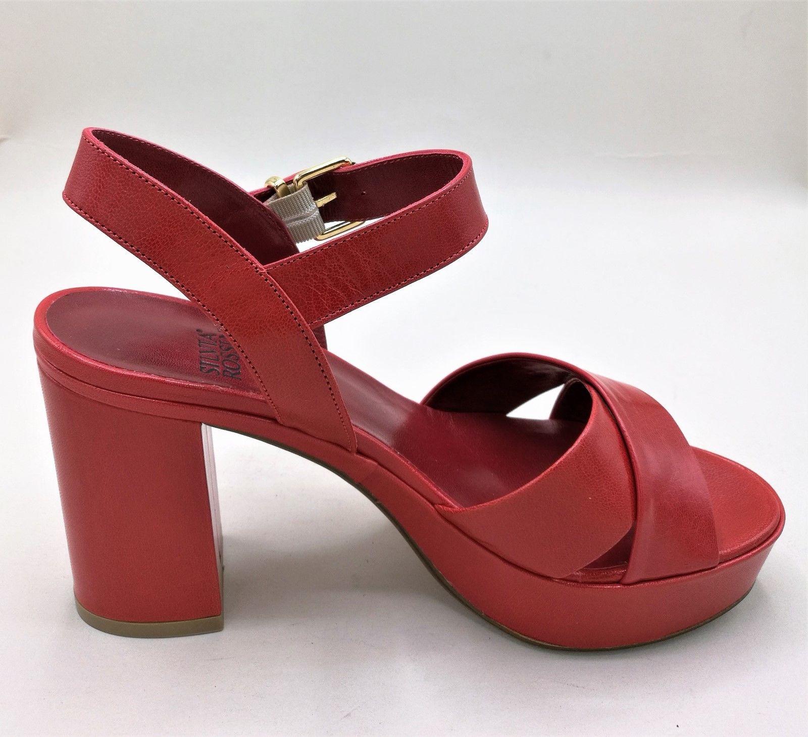 Silvia Rossini 1513 sandalo plateau in pelle rosso   bianco   nero tacco  largo 8 63f30566db4