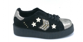 Ovyè Patty  sneakers lacci zeppa in camoscio nero con accessori oro
