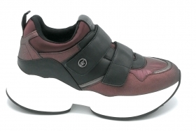 Liu Jo 69043 sneaker strap-on nylon satin bordeaux nero